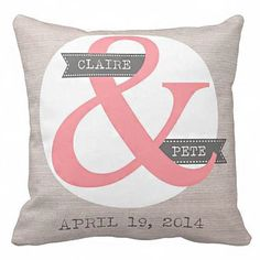 Personalized Wedding Gift Pillow Cover Cotton Anniversary Gift Pillow Cover Choose your Names and Date on Etsy, $35.00