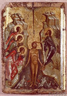 AKG Anonymous: Baptism of Christ / Byzantine Icon. , Canvas on Stretcher, Framed Picture, Glass Print and Wall Paper. Baptism Of Christ, Byzantine Icons, Akg, Orthodox Icons, Art Reproductions, Fresco, Picture Frames, Anonymous, Religion