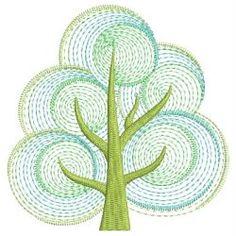 Rippled Retro Trees 2 11(Sm) machine embroidery designs
