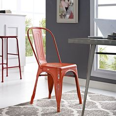 Promenade Side Chair, Red - Usher in eclectic decor with the Promenade chair. Complete with a vintage distressed finish, Promenade exhibits the charm of the classic bistro while upgrading your breakfast nook or dining room with a modern piece that breathes exceptionalism to your room. Mix-and-match with a chair that transforms eating spaces and enlivens coffee time. Set Includes: One - Promenade Side Chair. Material: Distressing powder coated steel with PP foot pad Chair Weight Capacity: 331…