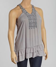 This Silver Crochet Yoke Tunic - Plus by Simply Irresistible is perfect! #zulilyfinds