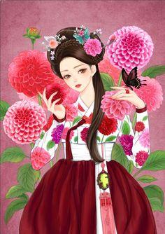 열두달의 꽃과 한복을 입은 열두명의 소녀. 소녀, 꽃 속에서 노닐다. 연작 9월의 탄생화 달리아 꽃말은 '기품, 화려함, 정열'