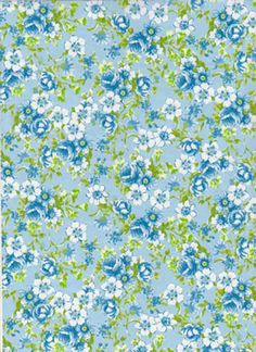 3PK Decopatch Tissue Paper - Blue, White, Green - Floral Print #569 3 sheets of decoupage/paper mache/collage paper.