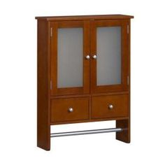 Home Decorators Collection, Amanda 24 in. W Wall Cabinet with Towel Bar in Cherry, 5216510110 at The Home Depot - Mobile