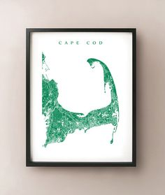 Cape Cod Map Massachusetts Art Poster Print by CartoCreative, $20.00