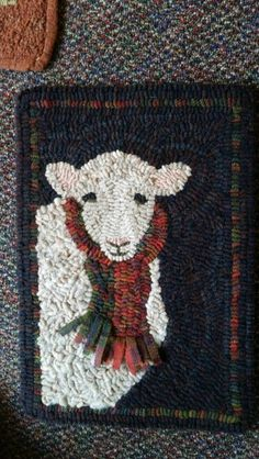 Rug Hooking – Page 3 Rug Hooking Designs, Rug Hooking Patterns, Rug Patterns, Penny Rugs, Christmas Rugs, Wooly Bully, Sheep Crafts, Punch Needle Patterns, Hand Hooked Rugs