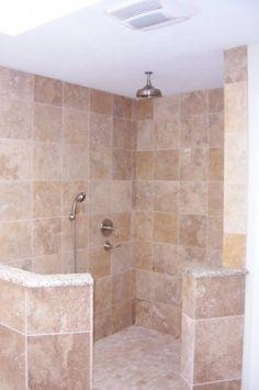 Walk-in shower Mediterranean Home doorless shower Design Ideas ...