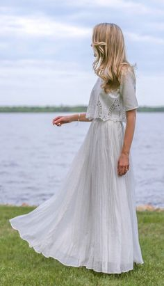 Eyelet lace short sleeve crew neck crop top + flowy ivory maxi skirt for our engagement party