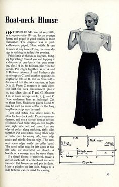 vintage boatneck top diagram