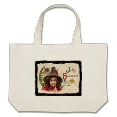 #Vintage Jolly Halloween Witch Large Tote Bag - #Halloween happy halloween #festival #party #holiday
