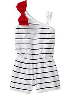 One-Shoulder Bow-Tie Rompers for Baby | Old Navy