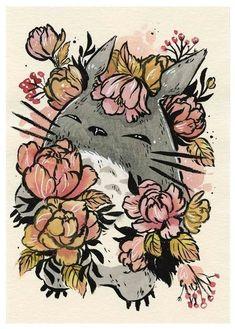 Totoro in flowers Studio Ghibli Art, Studio Ghibli Movies, Studio Ghibli Tattoo, Hayao Miyazaki, Jasmin Tattoo, Personajes Studio Ghibli, Anime Tattoos, My Neighbor Totoro, Animes Wallpapers