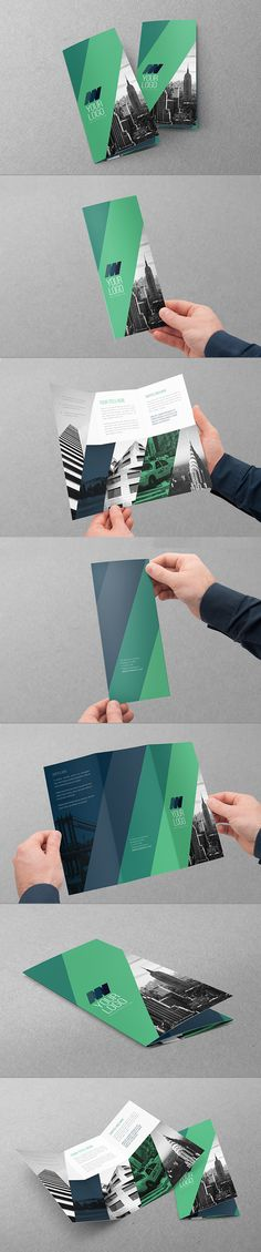Week 12: This is a very cool brochure because the elements are separate but do not compete. It is a very modern look with the black and white and the blue and green coloring. I like that the images go across the folding but do not disrupt the actual content.