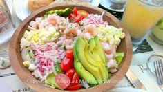 Bay shrimp salad from Paul Martin's American Grill Their Mushroom Burger is wonderful! No soy and using pesto aioli.