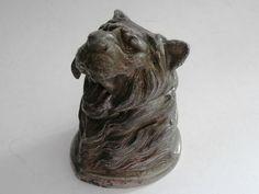 Online veilinghuis Catawiki: Inktpotje in de vorm van een tijgerkop incl. org. glazen binnenpotje