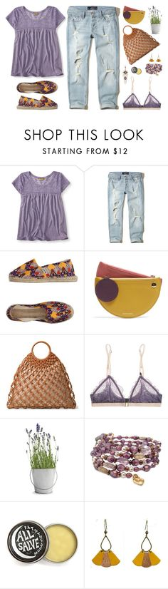 """""""Lavender with mustard"""" by shelliquinn ❤ liked on Polyvore featuring Aéropostale, Hollister Co., Espadrilles, Roksanda, Michael Kors, LoveStories, Potting Shed Creations, Atelier Maï Martin, Spring and destroyedjeans"""