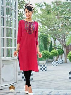 attentive Pink Designer south cotton long Kurti with 3 4th Sleeves.This  Rayon Embroidery 04dc57982