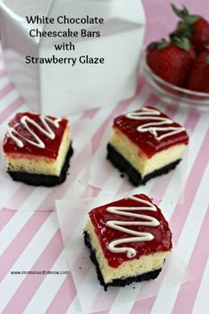 White Chocolate Cheesecake Bars with Strawberry Topping