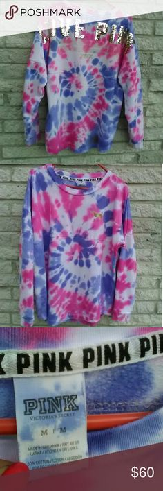 VS PINK Cotton Candy Tie dye Varsity Campus Bling Victoria's Secret PINK bling Crew Size Medium Pre-loved & Revamped with Cotton Candy Tie-Dye Colors!!!!!!! Check out my other Tie-dye's!! PINK Victoria's Secret Tops Sweatshirts & Hoodies