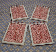 Wish I had a binder to make my own notebooks. Cute idea with playing cards.