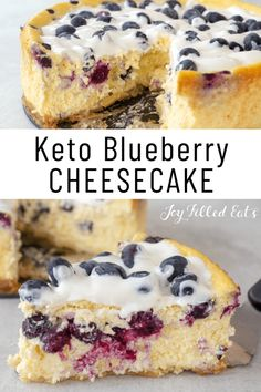 Spring and summer won't be the same without this velvety smooth Keto Blueberry Cheesecake. This blissful cheesecake has an almond flour crust, cheesecake filling with fresh blueberries, and a blueberry sour cream topping. One slice and you will feel like you are in food heaven. Plus, it's a delicious gluten-free, grain-free, and low carb dessert for any occasion. Blueberry Desserts, Blueberry Cheesecake, Keto Cheesecake, Keto Dessert Easy, Easy Desserts, Dessert Recipes, Keto Desserts, Low Carb Deserts, Low Carb Sweets