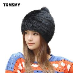6aad1108832 High quality Fashionable winter hats for women Rabbit Fur beanie Knitting  wool Real Fur Casual cute girls cap free shopping-in Skullies & Beanies  from ...