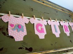 """Baby One-Piece Bodysuit """"BABY GIRL"""" Elephant Baby Shower Banner: Pink Elephant Baby Shower Decoration    http://picturesfunnys.blogspot.com/"""