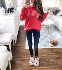 The Holiday Season is here and so is our Noel Sweatshirt! Pair this NOEL sweatshirt with a skinny jeans for a perfect Holiday look. Fall Winter Outfits, Winter Fashion, Holiday Fashion, Fashion Blogger Style, Fashion Bloggers, Trendy Outfits, Cute Outfits, Cute Christmas Outfits, Preppy Christmas