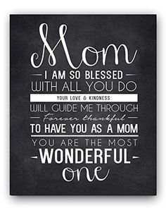 Mom Quote Chalkboard Wall Art Print The Perfect Mothers Day Gift Or For Birthday