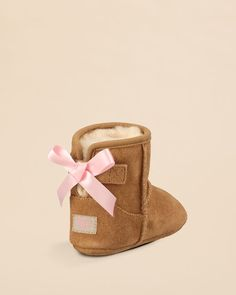 UGG® Australia Infant Girls' Jesse Bow Suede Booties - Baby, Walker | Bloomingdale's