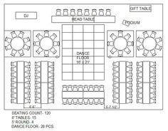 rectangle and circle wedding reception floor plan