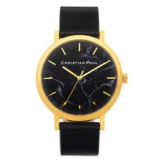 GOLD BLACK 43mm (€115) ❤ liked on Polyvore featuring jewelry, watches, accessories, gold jewelry, gold jewellery, yellow gold watches, gold watches and gold wristwatches