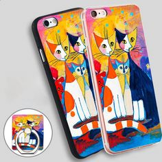 Warm Cat Family Phone Ring Holder Soft TPU Silicone Case Cover for iPhone 4 4S 5C 5 SE 5S 6 6S 7 Plus