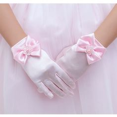 Girls Kids Children Nylon Plain Stretchy Formal Dressy Wrist Gloves