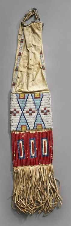 Bag | Sioux Tobacco Beaded Hide Hourglass & Cross Design 32 inch
