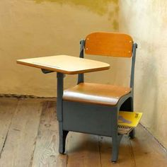 School desk... Wow.  I remember sitting in a desk just like this when I was in elementary school.