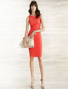 Papaya colour stretch double weave cutout dress from Le Chateau. Great for spring parties!
