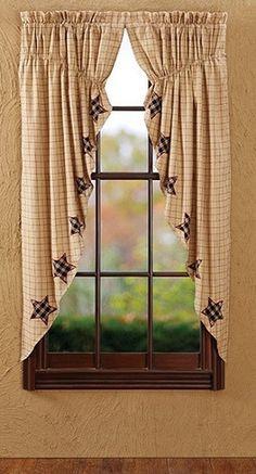 Bingham Star Applique Lined Prairie Curtains – Primitive Star Quilt Shop