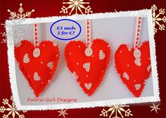 www.facebook.com/fabricgirldesigns Fabric Christmas Heart decorations, embellished with ribbon and buttons