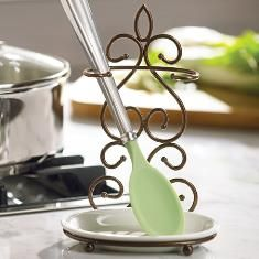 Princess House Meridian Double Spoon Rest..$29.95...upright design takes up less space   CarolWeygand@myprincesshouse.com
