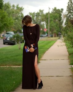 Missguided Larysa Long Sleeve Maxi Dress, Forever 21 Tribal Beaded Clutch, Betsey Johnson Ziah Booties