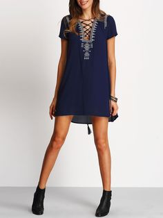 Shop Royal Blue Lace Up Print Front Shift Dress online. SheIn offers Royal  Blue Lace 510a15330cf
