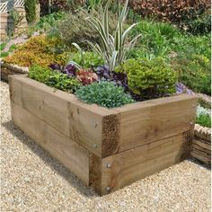 This contemporary Sleeper Raised Bed is perfect for growing your vegetables herbs and flowers. With the capacity to hold 220 litres of compost and it Raised Planter Beds, Raised Flower Beds, Raised Herb Garden, Vegetable Garden, Garden Pots, Raised Garden Bed Plans, Raised Bed Garden Design, Raised Patio, Fence Garden