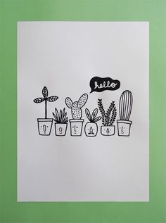 Plants - Illustration and silkscreen print. Limited edition of 10 copies.