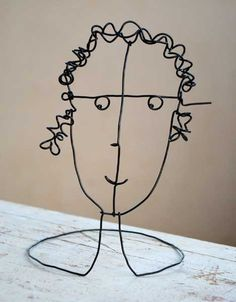 wire sculpture of my face - yr 7-8 do with pipe cleaners (could be OHS - dexterity issues with firmer wire)