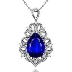 Stunning 25ct Natural Blue Tanzanite in 18K Gold Pendant by CHARMES Jewellery