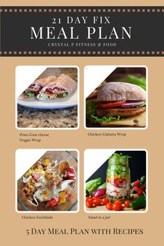 Crystal P Fitness and Food: 5 Day 21 Day Fix Meal Plan for Summer