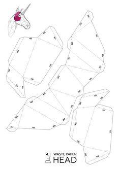 Papercraft unicorn head  printable DIY template