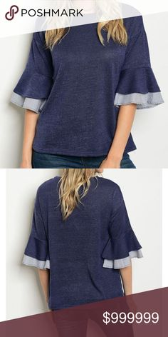 COMING SOON: Navy Ruffle Sleeve Top COMING SOON : LIKE FOR ARRIVAL NOTIFICATION  3/4 ruffled sleeve with alternating color sleeve lining  knit top with a crew neck 60% POLYESTER 35% RAYON 5% SPANDEX golden threads Tops