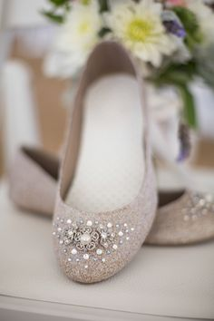 Embellished, tan bridal flats | Craig Hodge Photography | Theknot.com